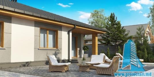 Proiect de casa cu parter si acoperis in panta din tigla ceramica-160m2 -100976