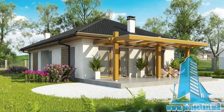 design terasa de vara cu lemn si geamuri de sticla pina in podea