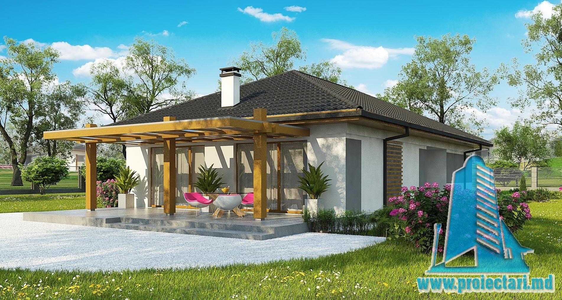 Proiect de casa cu parter si acoperis in panta din tigla ceramica  de 150m2 -100977