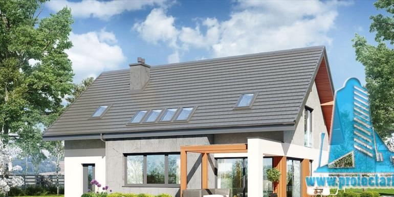 design terasa de vara din lemn pentru proiect de casa cu acoperis din tigla 160m2 cu garaj pentru un automobil