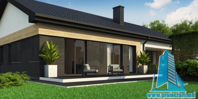 design terasa fatada cu piatra proiect de casa duplex cu parter acoperis in panta si terasa exterioara