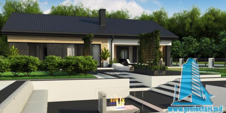 design terasa proiect de casa duplex cu parter acoperis in panta si terasa exterioara