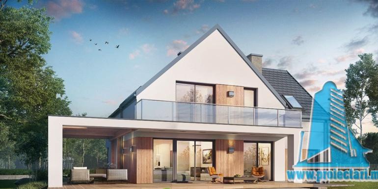 design zona de odihna proiect de casa cu mansarda 180m2, cu terasa mare, garaj si zona de odihna cu barbeque