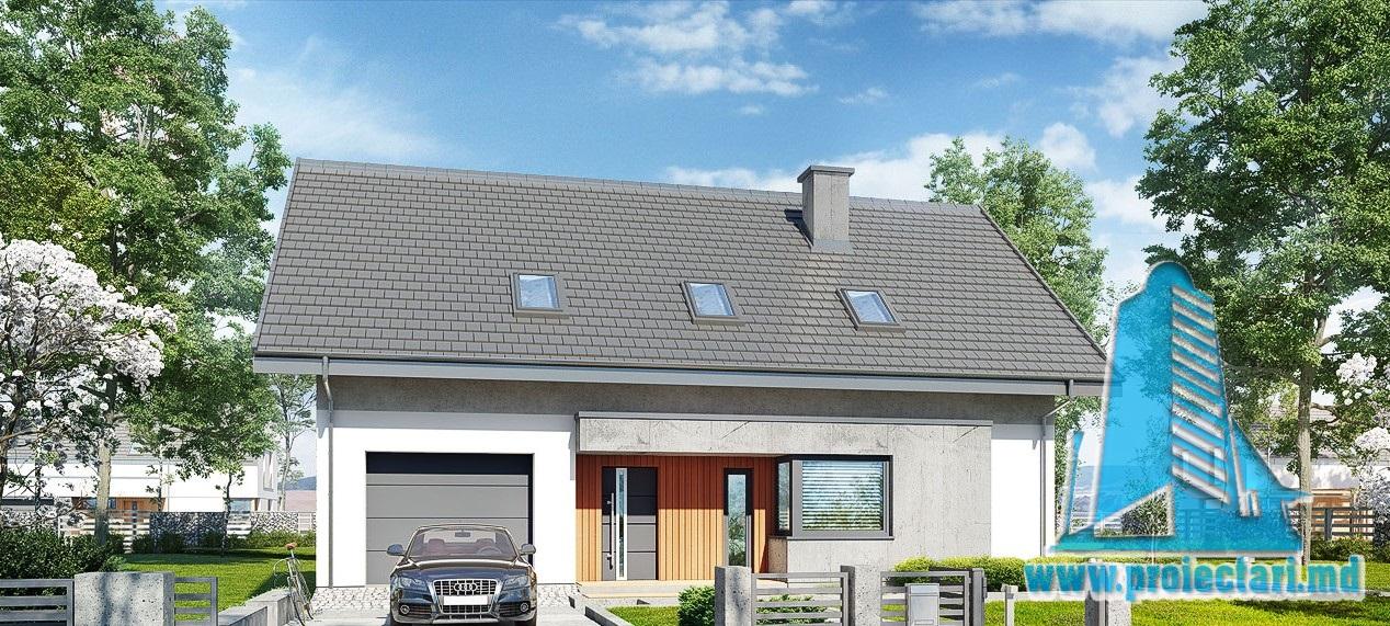 Proiect de casa cu parter si mansarda – 274.0m2 cu terasa de vara si garaj pentru un automobil din piatra de calcar- 100987