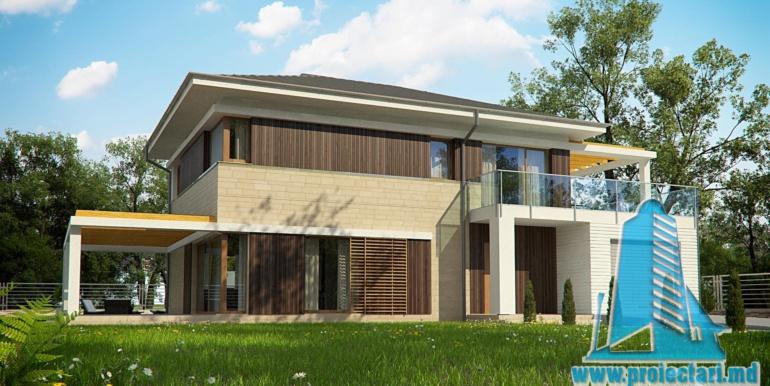 landsaft designul proiect de casa cu doua etaje si garaj pentru un automobil de 180 m2 cu terasa de vara si acoperis din tigla metalica