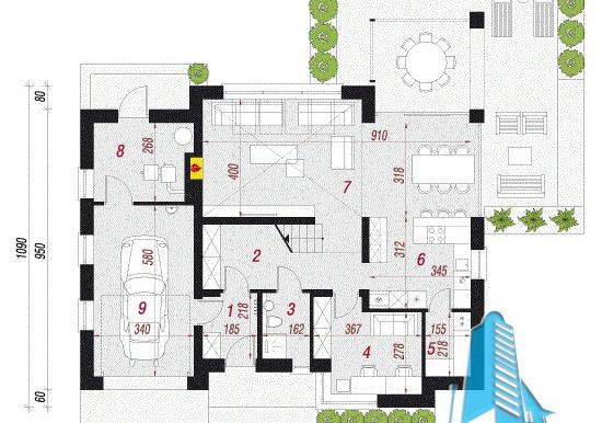 plan parter proiect de casa cu acoperis din tigla 160m2 cu garaj pentru un automobil