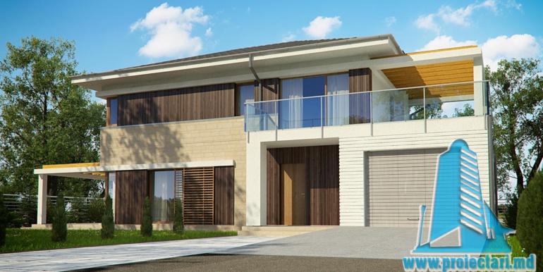 proiect de casa cu doua etaje si garaj pentru un automobil de 180 m2 cu terasa de vara si acoperis din tigla metalica
