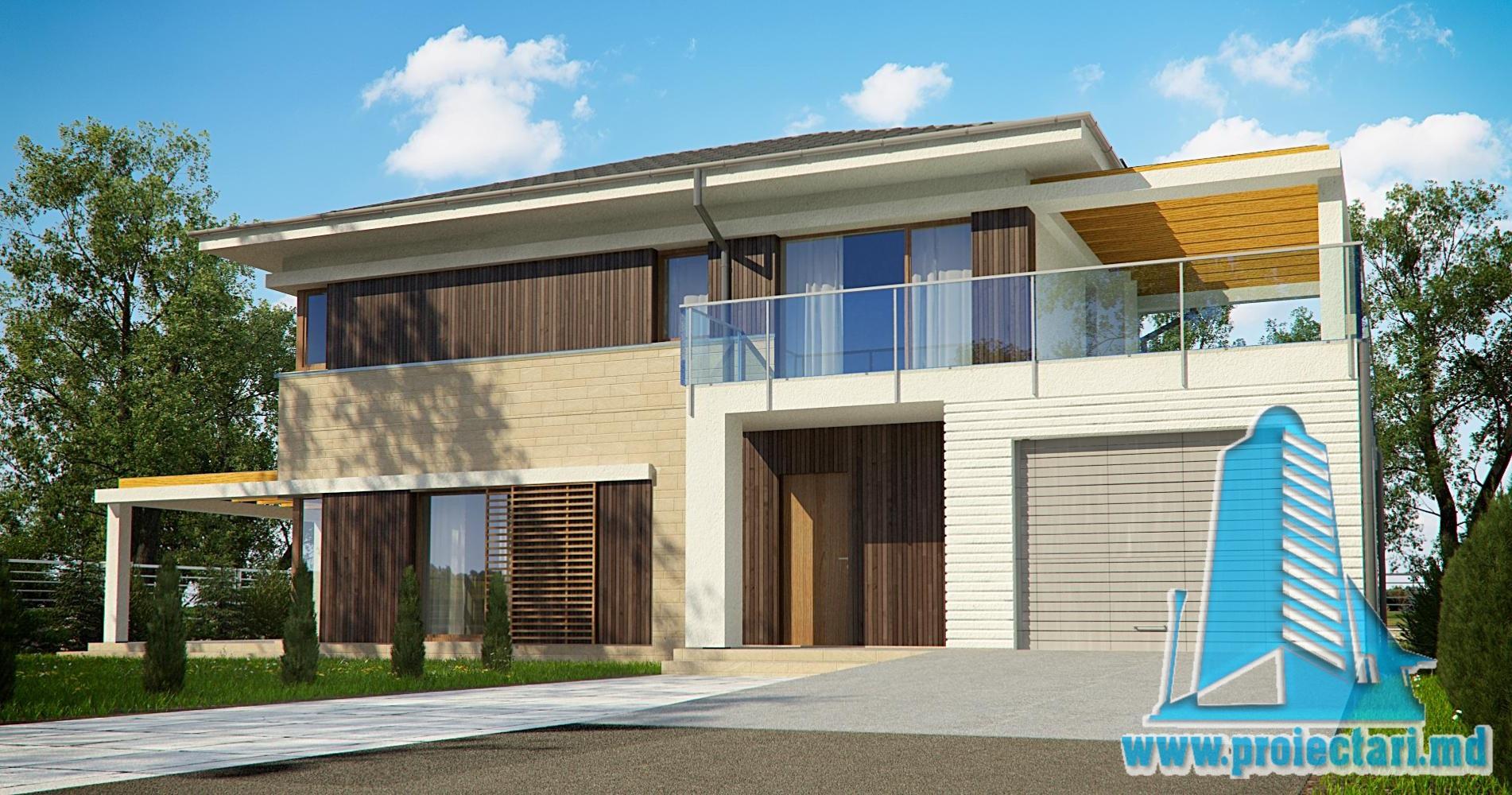Проект двухэтажного дома c гаражом и летней террасой -270m2-100983