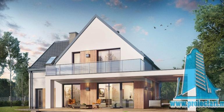 proiect de casa cu mansarda 180m2, cu terasa mare, garaj si zona de odihna cu barbeque