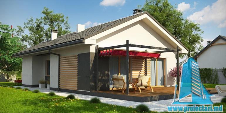 proiect de casa cu parter 120m2 cu terasa de vara din lemn cu zona de odihna