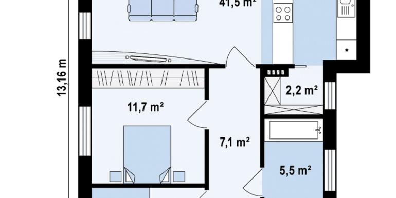 proiect de casa cu parter 120m2 plan parter