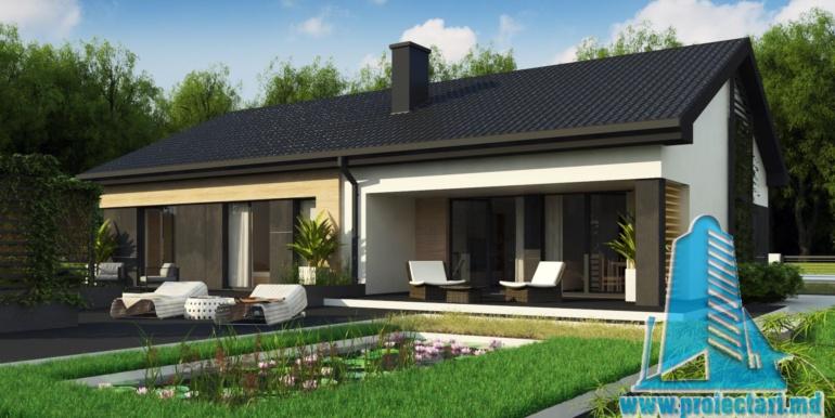 proiect de casa cu parter acoperis in panta si terasa exterioara