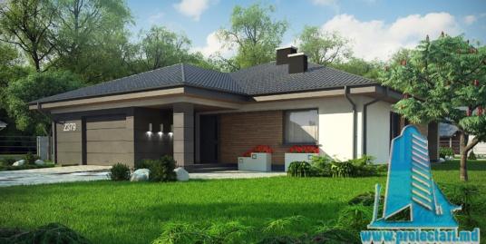 Proiect de casa cu parter si acoperis in panta din tigla ceramica cu garaj pentru un automobil – 100974