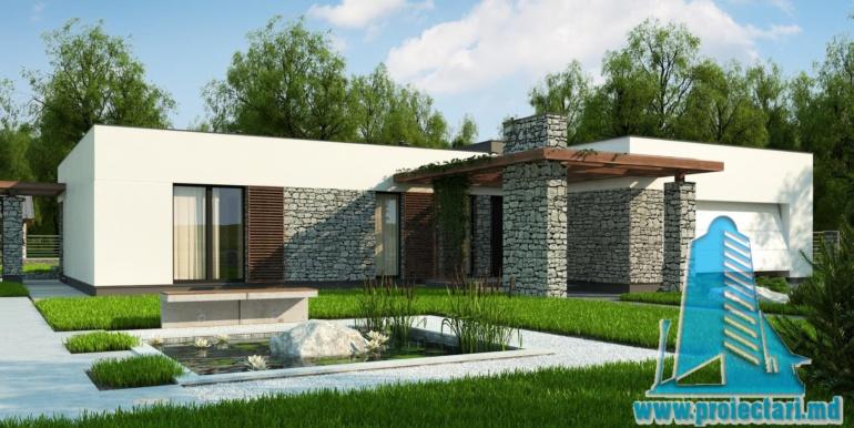 proiect de casa cu parter si acoperis plat cu decor de piatra naturala si bazin de vara de 210 m2