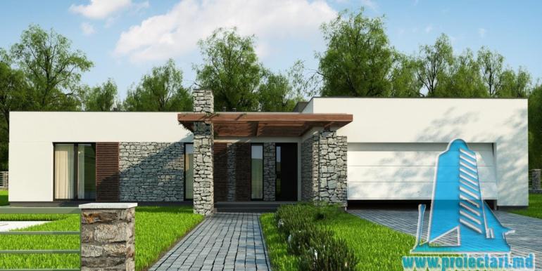 proiect de casa cu parter si acoperis plat cu decor de piatra naturala si bazin de vara de 210 m2 in stil scotian