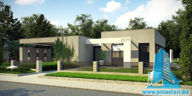 proiect de casa cu parter si acoperis plat cu garaj pentru doua automobile