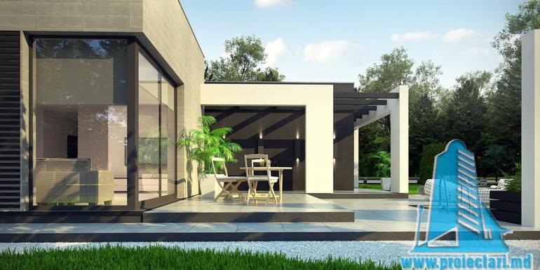 proiect de casa cu parter si acoperis plat cu garaj pentru doua automobile terasa de vara
