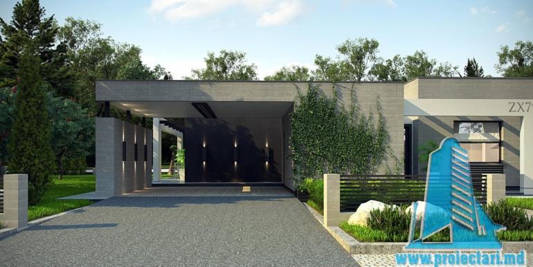 proiect de casa cu parter si acoperis plat cu garaj pentru doua automobile1