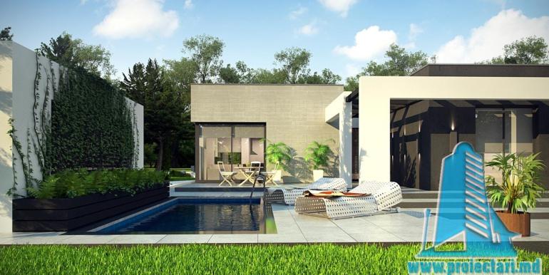 proiect de casa cu parter si acoperis plat cu garaj pentru doua automobile2