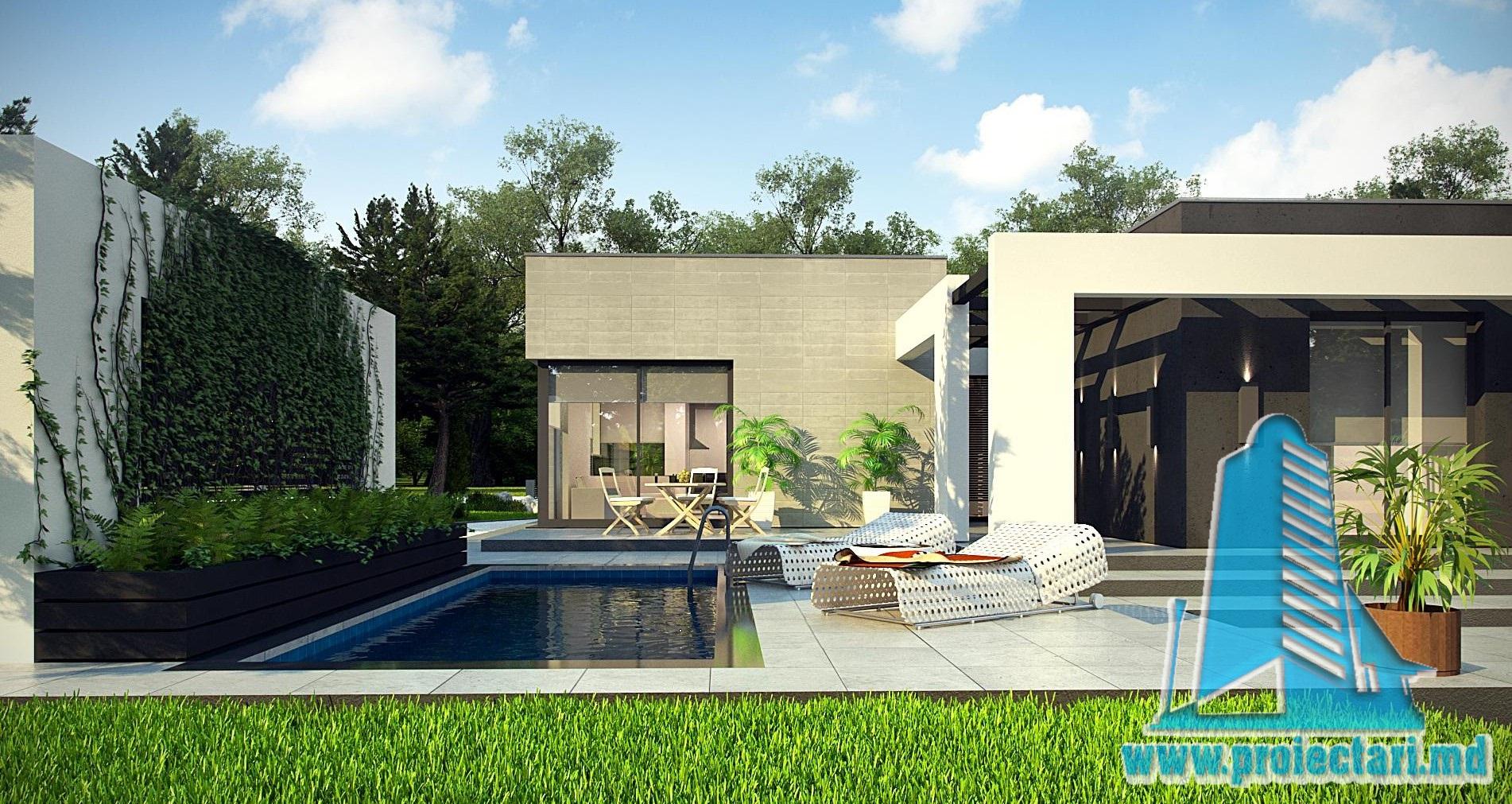 Proiect de casa cu parter si garaj pentru doua automobile cu acoperis plat – 100972
