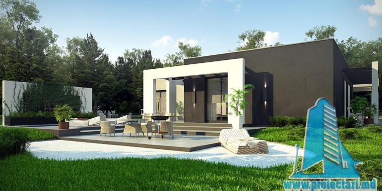 proiect de casa cu parter si acoperis plat cu garaj pentru doua automobile3