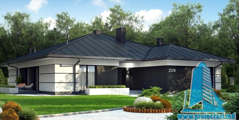 proiect de casa cu parter si garaj pentru doua automobile cu terasa de vara