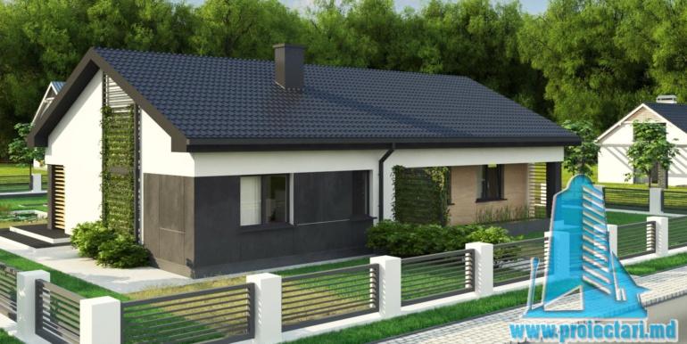 proiect de casa duplex cu parter acoperis in panta si terasa exterioara