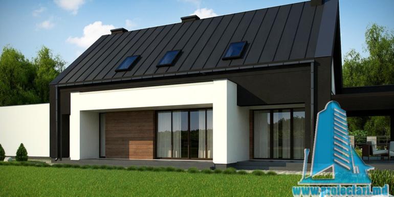 p[roiect de casa mica cu parter si mansarda cu terasa pe garajul pentru doua automobile 214m2