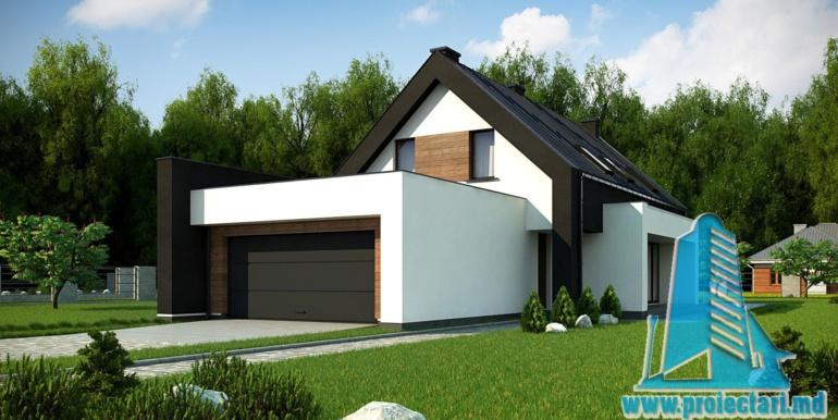 p[roiect de casa mica cu parter si mansarda cu terasa pe garajul pentru doua automobile