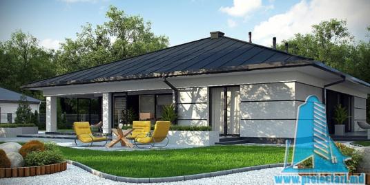Proiect de casa cu parter, acoperis din tigla ceramica si garaj pentru doua automobile – 100973