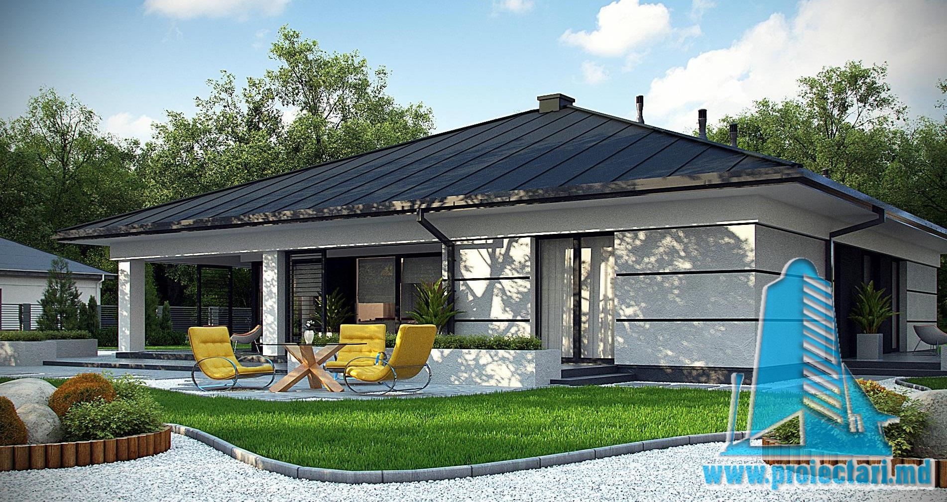 Проект дома c  партером,c крышои из керамической черепицы и летней террасой – 100973