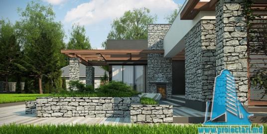 Proiect de casa cu parter, cu acoperis plat si garaj pentru doua automobile-170m2- 100981