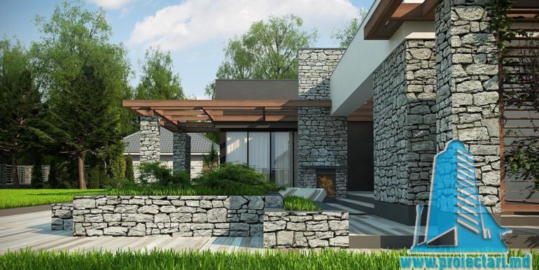 scara de acces in casa a proiect de casa cu parter si acoperis plat cu decor de piatra naturala si bazin de vara de 210 m2