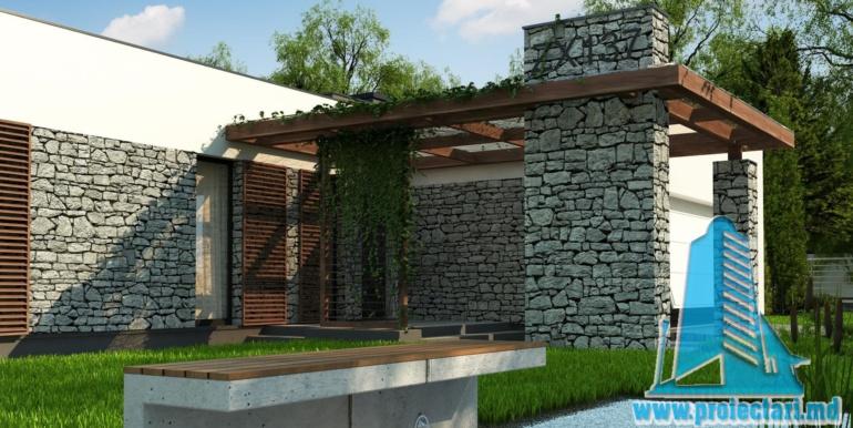 terasa de vara a proiect de casa cu parter si acoperis plat cu decor de piatra naturala si bazin de vara de 210 m2
