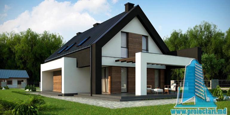 terasa de vara a proiect de casa mica cu parter si mansarda cu terasa pe garajul pentru doua automobile 214m2