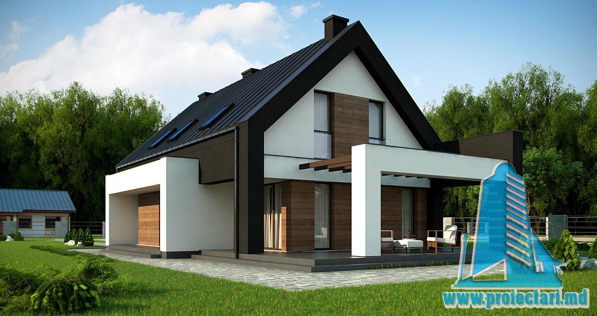 Proiect de casa cu parter si mansarda – 220m2 cu terasa de vara si garaj pentru doua automobile din caramida brickstone- 100985