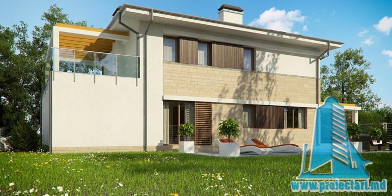 terasa de vara cu gazon proiect de casa cu doua etaje si garaj pentru un automobil de 180 m2 cu terasa de vara si acoperis din tigla metalica