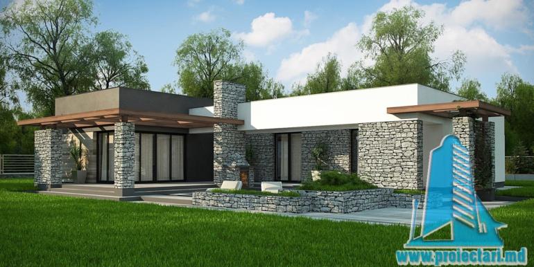 terasa de vara din lemn a proiect de casa cu parter si acoperis plat cu decor de piatra naturala si bazin de vara de 210 m2