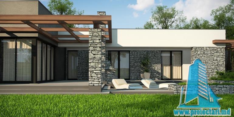 terasa de vara din lemn a proiect de casa cu parter si acoperis plat cu decor de piatra naturala si bazin de vara de 210 m2.jpg1