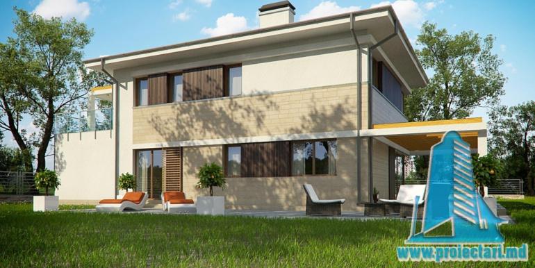 terasa de vara proiect de casa cu doua etaje si garaj pentru un automobil de 180 m2 cu terasa de vara si acoperis din tigla metalica