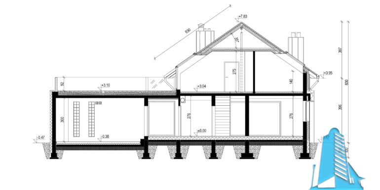 Sectiune Casa cu parter mansarda si garaj pentru doua automobile