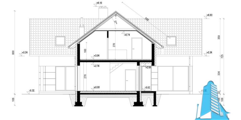 sectiune casa cu parter si manasarda si garaj pentru doua automobile