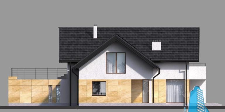 fatada casa cu parter si manasarda si garaj pentru doua automobile