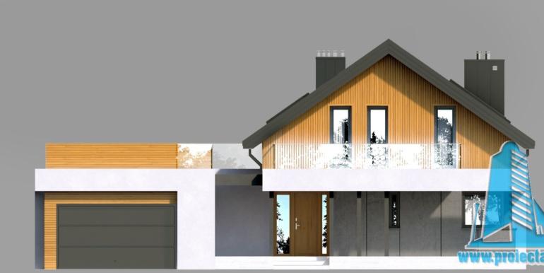 Fatada casa cu parter mansarda si garaj pentru doua automobile