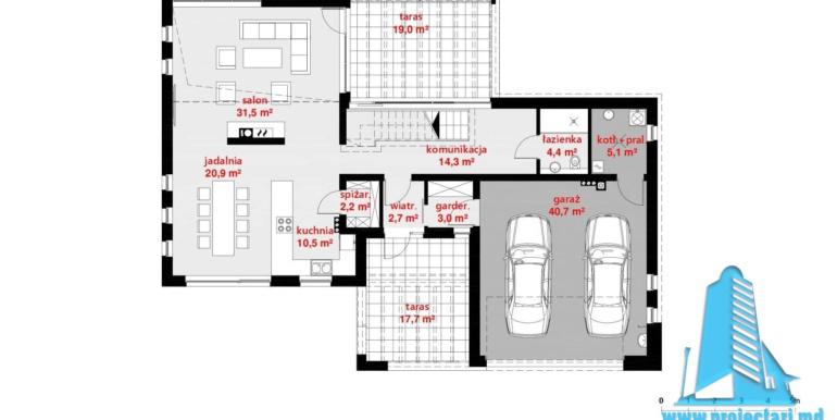 plan parter Casa cu parter, mansarda si garaj pentru 2 automobile