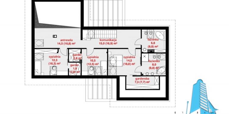 plan mansarda Casa cu parter, mansarda si garaj pentru 2 automobile