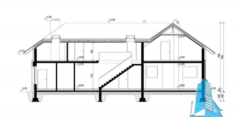 sectiune Casa cu parter, mansarda si garaj pentru 2 automobile