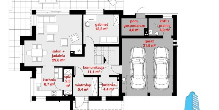 plan parter casa cu parter, mansarda si garaj pentru automobile