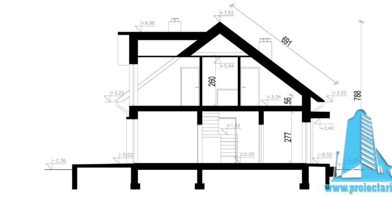sectiune casa cu parter, mansarda si garaj pentru automobile