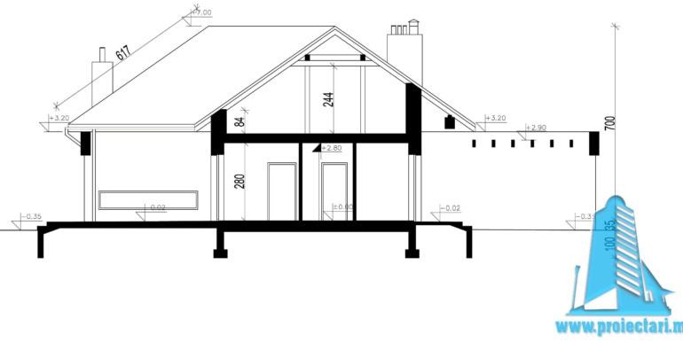 sectiune Casa cu parter si garaj pentru doua automobile
